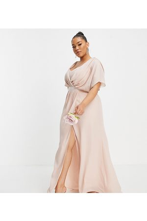 ASOS Curve Damen Lange Kleider - ASOS DESIGN Curve Bridesmaid short sleeved cowl front maxi dress with button back detail-Pink