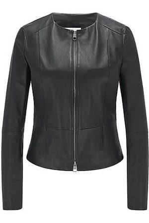 BOSS Kragenlose Slim-Fit Jacke aus elastischem Leder