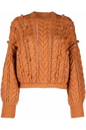 ULLA JOHNSON Cable-knit pom-pom wool jumper