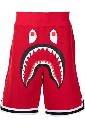 A Bathing Ape Herren Kurze Hosen - Shark graphic-print track shorts