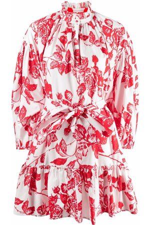 Msgm Damen Freizeitkleider - Floral-print flounce dress