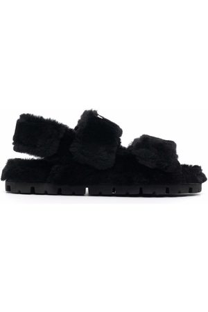 Prada Damen Sandalen - Logo-patch textured sandals