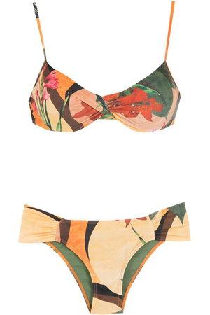 Lygia & Nanny Vitória leaf-print bikini