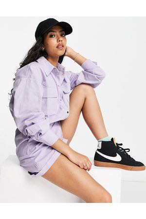 ASOS Popper utility playsuit in lilac-Purple