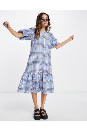 Vila Peplum hem midi dress in lavender check-Multi