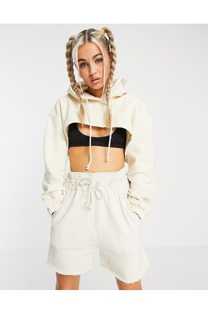 Weekday Bolero organic cotton blend cropped hoodie with zip front in
