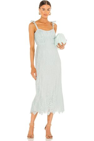 JONATHAN SIMKHAI Bonnie Silk Lace Plisse Strapless Bustier Midi Dress in - Baby Blue. Size 0 (also in 4).