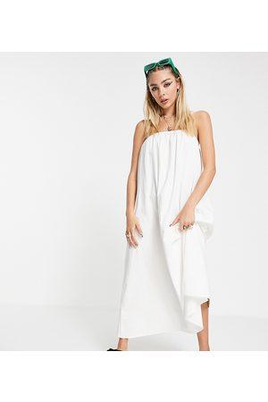 COLLUSION Damen Midikleider - Linen trapeze midi sundress in white