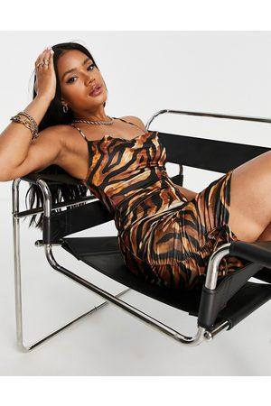 ASOS DESIGN Cami cowl strappy back satin mini dress in animal print-Multi