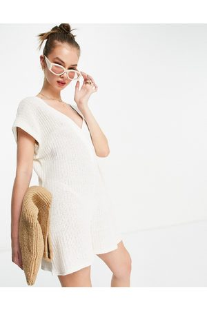 ASOS Mixed knit cricket romper in cream-White
