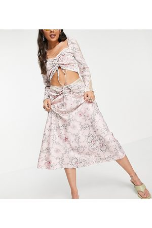 Reclaimed Inspired couture satin midi skirt co ord in pink floral print with lace inserts and ruched detail