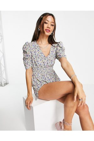 Topshop V front and back ditsy playsuit in multicoloured