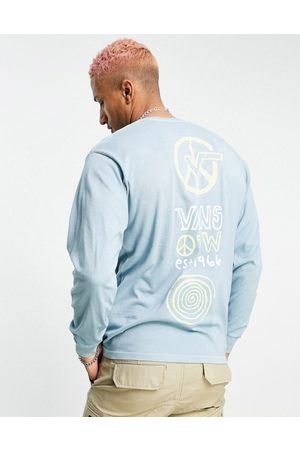 Vans Herren Lange Ärmel - Jank Ditsy back print long sleeve t-shirt in blue