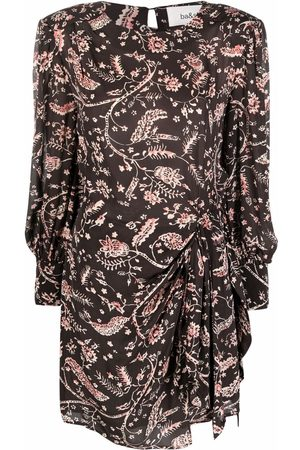 Bash Floral-print ruched-detail dress
