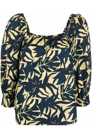 Bash Damen Blusen - Leaf-print square-neck blouse