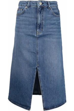 Bash Front-slit denim skirt
