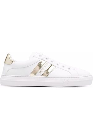 Moncler Metallic-stripe leather trainers