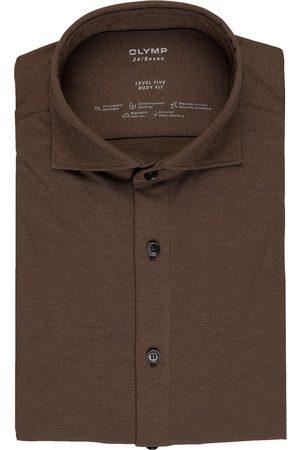 Olymp Herren Business - Jerseyhemd Level Five 24/7 Body Fit braun