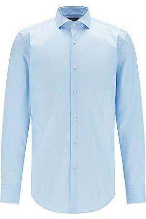 HUGO BOSS Herren Hemden - Slim-Fit Hemd aus bügelleichtem Baumwoll-Mix mit Popeline-Struktur