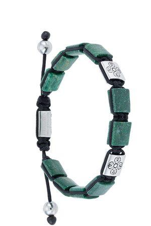 Nialaya Jewelry Herren Armbänder - Dorje Flatbead beaded bracelet