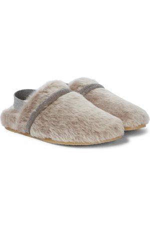 Brunello Cucinelli Verzierte Slippers aus Shearling