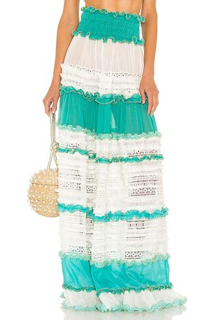 CHIO Tier Lace Maxi Skirt in - Baby Blue. Size L (also in M, S, XS).