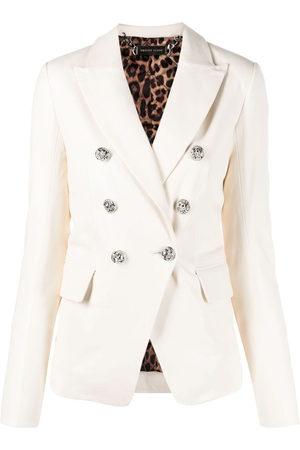 Philipp Plein Damen Lederjacken - Double-breasted leather blazer