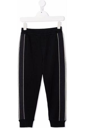Emporio Armani Kids Side-tripe cotton-blend track trousers