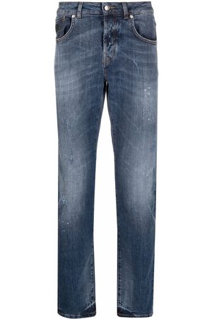 John Richmond Herren Slim - Rear logo-print jeans
