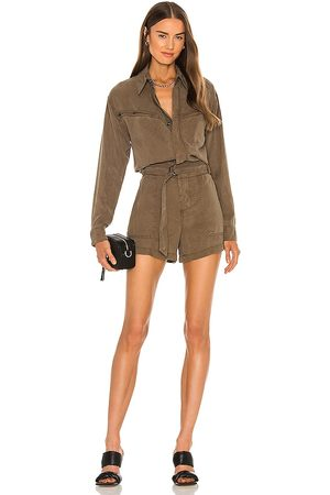 Pam & Gela Belted Utility Romper in - . Size L (also in M, S, XS).