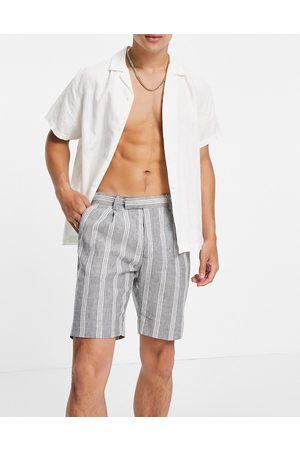 ASOS Slim smart shorts in grey stripe linen