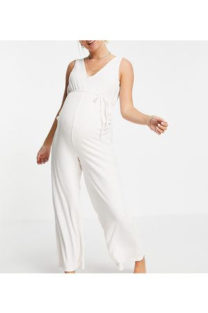 ASOS Maternity ASOS DESIGN Maternity mix & match lounge super soft rib jumpsuit with waist tie in ecru-White