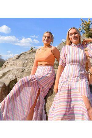 Labelrail X Olivia & Alice volume maxi skirt in bright stripe-Pink