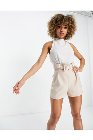 ASOS DESIGN 2 in 1 belted playsuit in stone and white-Neutral