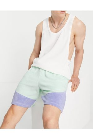 ASOS Co-ord oversized towelling colour block shorts in blue-Green