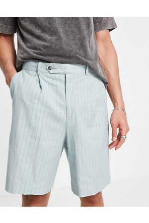 ASOS DESIGN Wide smart shorts in mint linen pinstripe-Green