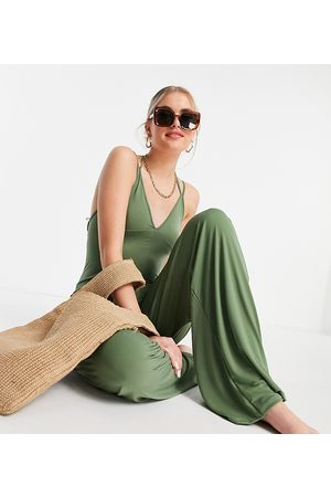 ASOS Tall ASOS DESIGN tall wide leg slinky beach jumpsuit in khaki-Green
