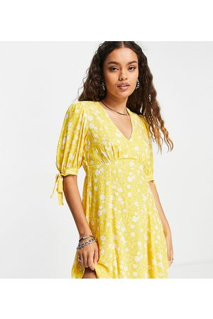 New Look V neck tie sleeve mini dress in yellow floral