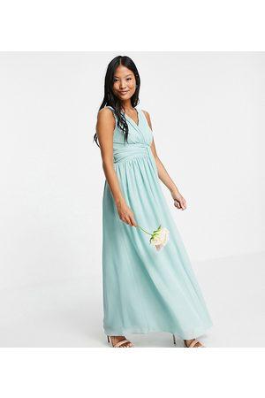 Little Mistress Bridesmaid v neck maxi dress in green