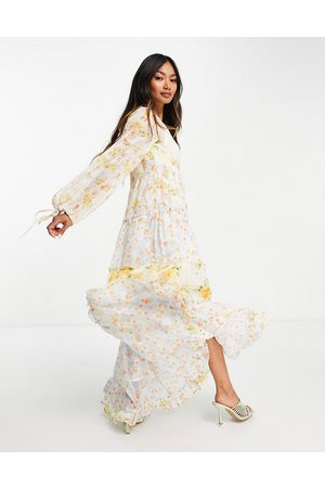 ASOS Soft wafty maxi dress in mixed ditsy floral print-Multi