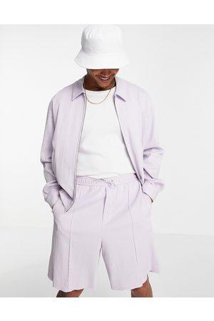 ASOS DESIGN Co-ord smart wide bermuda shorts in lilac crinkle-Purple