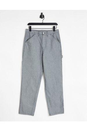 ASOS DESIGN Carpenter trousers in grey pinstripe