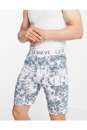 Le Breve Lounge co-ord shorts in blue stone tie dye