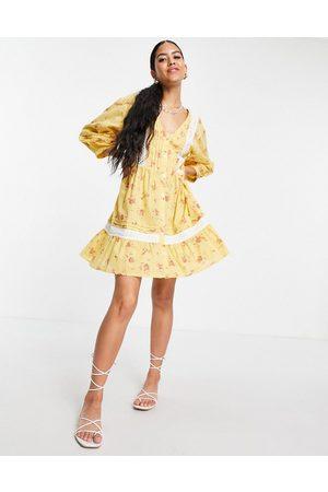 ASOS Lace insert button through mini smock dress in ditsy floral print-Multi