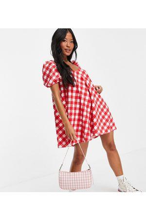 ASOS ASOS DESIGN Petite textured puff sleeve mini dress in red gingham print