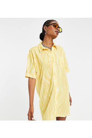 ASOS Tall ASOS DESIGN Tall shirt dress in yellow abstract swirl print