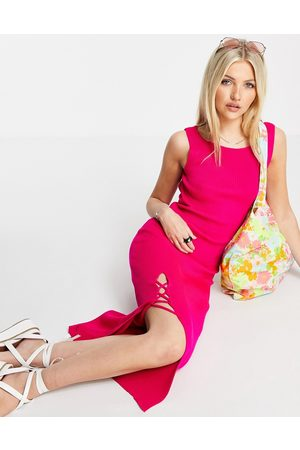 Miss Selfridge Knitted maxi dress low back and lattice detail in bright pink