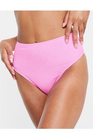 New Look Textured high waist bikini bottom in light pink