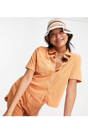 Pieces Organic cotton blend terry towelling polo top co-ord in camel-Neutral
