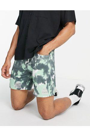 Liquor N Poker 90s acid wash denim shorts co-ord in green